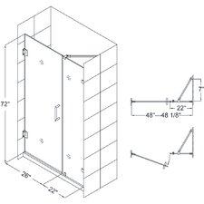 """UnidoorLux 48"""" Frameless Hinged Shower Door, 3/8"""" Glass Door"""