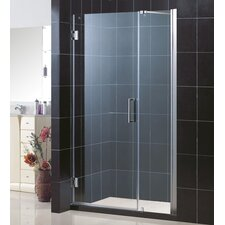 "Unidoor Frameless Hinged Shower Door with 24"" Panel"