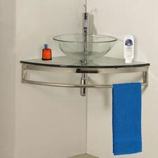"23.25"" Glass Simplicity Corner Vanity Set"