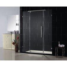 "Vitreo 46 1/8"" Frameless Pivot Shower Door, Clear 3/8"" Glass Door"