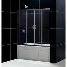 """Visions 56 to 60"""" Frameless Sliding Tub Door, Clear 1/4"""" Glass Door"""