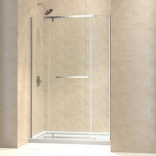 "Vitreo-X Frameless Pivot Shower Door and SlimLine 30"" by 60"" Single Threshold Shower Base Left Hand Drain"