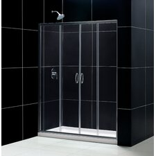 """Visions 60"""" W x 74.75"""" H x 32"""" D Bypass Shower Door with SlimLine Base"""