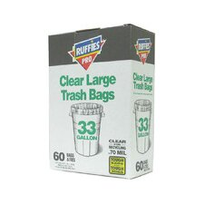 33 Gallon Large Trash Bags in Clear (60 Count)