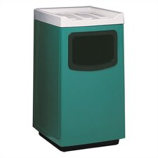 Fiberglass Series 47 Gallon Square Food Court Receptacle with Doors on Trash Opening and Side