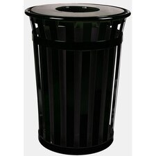 Oakley Slatted Metal Waste Receptacle with Flat Top