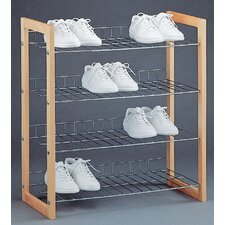 4 Tier Wood Shoe Shelf