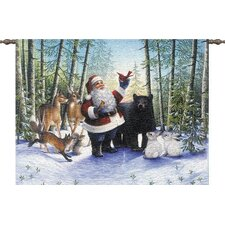 Santa in the Forest Tapestry