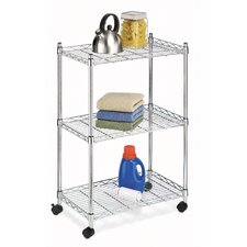 Three Tier Jumbo Cart with Casters in Chrome