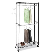 <strong>Whitmor, Inc</strong> Supreme Double Rod Rolling Garment Rack in Black