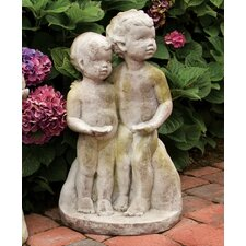 Children Standing Children Bird Feeder Statue