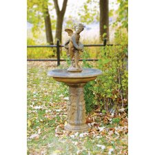 Fiber Stone Cupid Birdbath / Fountain