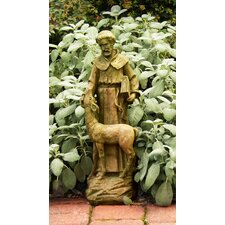 Religious Saint Francis with Deer Statue