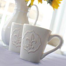 Six Piece Fleur-de-Lis Mug in Antique White