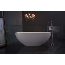 "PureScape CristalStone Synthetic Resin 71"" x 36"" Freestanding Acrylic Bathtub"