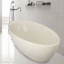 "PureScape 67"" x 37"" Freestanding AquaStone Bathtub"