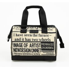Insulated Fashion News Print Lunch Tote