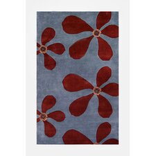 Ariel Light Blue/Dark Red Area Rug