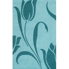 Floral Light Blue Rug