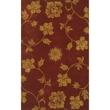 Floral Burgundy/Gold Area Rug