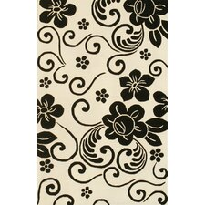 Floral White/Black Area Rug