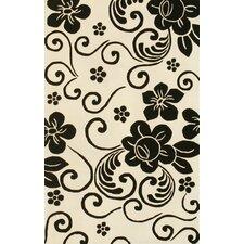Floral White/Black Rug