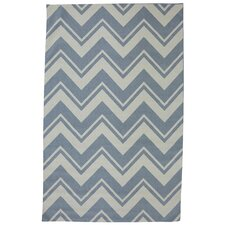 Outdoor/Patio Blue Pool Zig Zag Rug