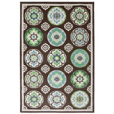 Outdoor Patio Woven Brown Clover Leaf Rug