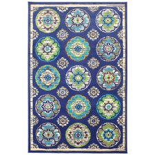 Patio Woven Blue Clover Leaf Wildaster Outdoor Area Rug