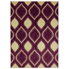Woodgrain Stylin Ogee Purple/Yellow Area Rug
