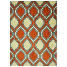 Woodgrain Stylin Ogee Orange/Yellow Area Rug