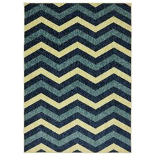 Woodgrain Blue Simple Zig Rug
