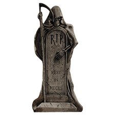Rest in Pieces Grim Reaper Tombstone Statue