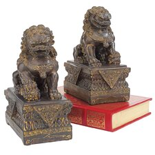 Chinese Foo Dog 2 Piece Guardian Lion Statue Set (Set of 2)