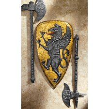Villani Florence Gothic Griffin Shield Wall Sculpture