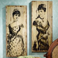 La Mode Illustree Victorian Fashion 2 Piece Graphic Art Plaque Set