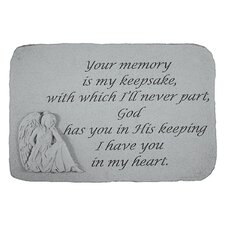 Your Memory is my Keepsake...Angel Memorial Garden Marker Stepping Stone