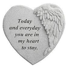 In My Heart to Stay...Angel Wing Memorial Garden Marker Stepping Stone