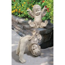 2 Piece Topsy and Turvey Tumbling Cherub Statue Set