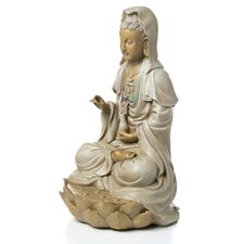 Goddess Guan Yin Seated on Lotus Statue
