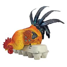 Rooster's Perch Sitting Chicken Statue