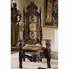 <strong>Design Toscano</strong> The Lord Raffles Lion Throne Fabric Arm Chair