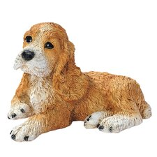 Cocker Spaniel Puppy Dog Statue in Brown