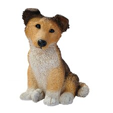 Collie Puppy Dog Statue in Brown