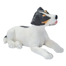Jack Russell Puppy Dog Statue in Black and White