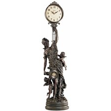 <strong>Design Toscano</strong> Grand-Scale Flora Sculptural Swinging Pendulum Clock in Antique Faux Bronze