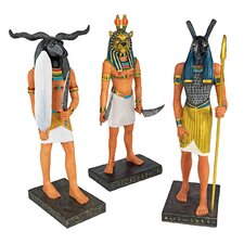 Ancient Egyptian 3-Piece God Statue Set