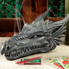 Stryker the Smoking Dragon Sculptural Incense Box in Dark Grey Stone