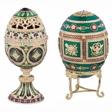 <strong>Design Toscano</strong> The Emerald Collection Faberge-Style Enameled Redonka and Minishka Egg Set