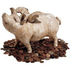 When Pigs Fly Authentic Foundry Medium Bank Sculpture